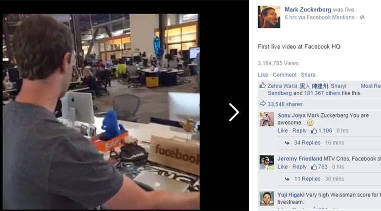 facebook Mark Zuckerberg livevideo